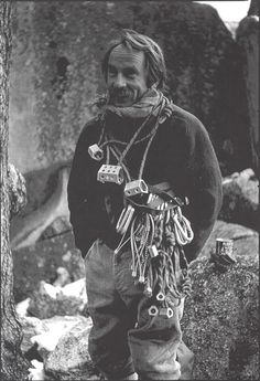 This is what the well-hung clean climber looked like in 1971!  Yvon Chouinard with a full rack of hexes and stoppers along with the standard knickers and knee socks. (SuperTopo Rock Climbing Discussion Topic)