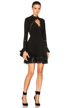 Image 1 of NICHOLAS Lace Insert Dress in Black