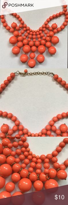 """Coral beaded statement necklace 11"""" length, adjustable to tighten 3"""". Jewelry Necklaces"""