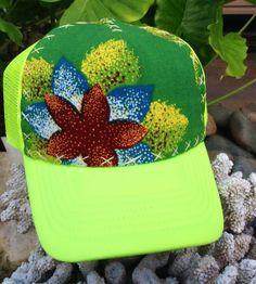 Trucker hat neon yellow w/hand stitched Vintage by AumoanaDesigns, $20.00