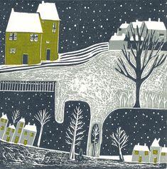 Linocut Art Prints Original Linocut print Lino prints by Laylart Landscape Prints, Landscape Art, Winter Landscape, Winter Szenen, Linoleum Block Printing, Art Calendar, Art Mural, Linocut Prints, Les Oeuvres