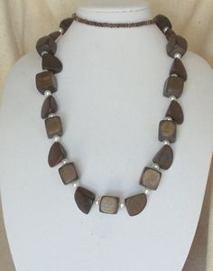 """Vintage 36""""  Infinity Statement Necklace,Dark Brown Wood Beads, Various Size Beads,Acrylic White Pearl,VJ2025N by CKDesignsForYou on Etsy"""