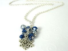 Holiday Snowflake Necklace Silver and Blue by SkyLineJewelry, $15.00