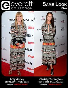 Stunning Ladies, Same Look: Amy Astley and Christy Turlington in Etro - Amy Astley at arrivals for THE MAZE RUNNER Screening, The School of Visual Arts (SVA) Theatre, New York, NY September 15, 2014.  *** Christy Turlington (wearing an Etro dress) at arrivals for The Daily Front Row 2nd Annual Fashion Media Awards, Park Hyatt New York, New York, NY September 5, 2014.