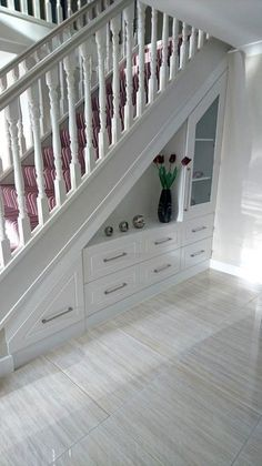 55 Genius Under Stairs Storage Ideas For Minimalist Home. Many of us live in houses that have an open area underneath the stairs. Staircase Storage, Staircase Design, Under Stair Storage, Open Staircase, Foyer Storage, Stair Design, Office Storage, Space Under Stairs, Office Under Stairs