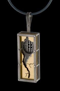 Necklace |  E Douglas Wunder.  Titanium, 18kt gold Bi Metal with an Oxidized silver chain