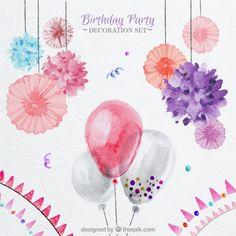 水彩風船や誕生日のための花の飾り 無料ベクター