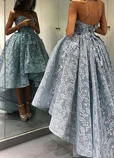 Elegant Sweetheart Hi-Low Blue Lace Prom/Evening Dress,A-Line prom dress,Sexy dress,Tee dress