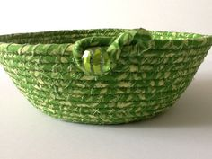 Green Coiled Rope Bowl, Fabric Bowl, Catchall Basket, Organizer Basket, Quiltsy Handmade by Clothstitched on Etsy
