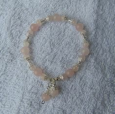 bracelet rose quartz silver plate spacers stretch