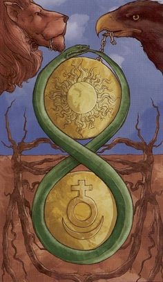 Ouroboros, Venus & Moon, Sun, Eagle and Lion.