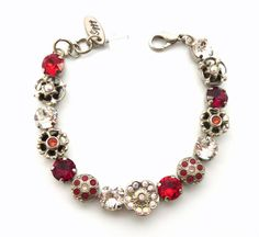 FLEUR ROUGE 8mm Swarovski crystal tennis bracelet by SiggyJewelry