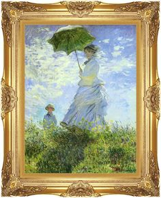 Woman with a Parasol Umbrella Claude Monet Framed Fine Art Print Painting Repro #accentsnart #Impressionism