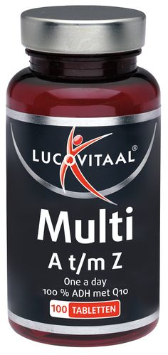 Lucovitaal Voedingssupplementen Multi A t/m Z Tabletten met Q10 100Tabl  Description: Lucovitaal Multi A t/m Z met Q10. Multi A t/m Z is speciaal samengesteld voor volwassenen en bevat minimaal 100% van de aanbevolen dagelijkse hoeveelheid aan vitamines waaronder vitamine C. Vitamine C bevordert de weerstand tijdens en na fysieke inspanning voor het behoud van sterke botten en een sterk gebit en zorgt mede voor een goede weerstand. Vitamine C is een antioxidant en helpt lichaamscellen te…