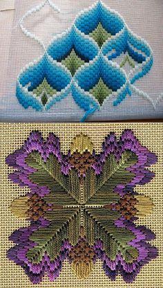 Bargello technique in stitches Bargello Quilt Patterns, Bargello Needlepoint, Needlepoint Patterns, Hand Embroidery Patterns, Embroidery Designs, Hardanger Embroidery, Diy Embroidery, Cross Stitch Embroidery, Plastic Canvas Stitches