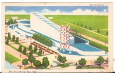 1940 Postmarked Postcard Hall of Fashion New York Worlds Fair NY