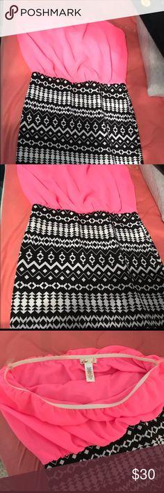 Strapless dress Hot pink - tribal design strapless dress Dresses Midi