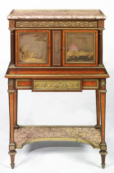 HENRY DASSON 1825-1896 A LOUIS XVI STYLE GILT-BRONZE MOUNTED MAHOGANY, AMARANTH, BIRD'S EYE BURR AND NASHIJI LACQUERED BONHEUR DU JOUR PARIS, DATED 1880 en suite with the preceding lot, the present signed Henry Dasson.1880 to the upper left hand side gilt-bronze border, the carcass stamped twice HENRY DASSON/1880