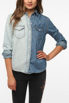 Denim Jean Button Down Shirt Urban Outfitters BDG two-tone western denim shirt with distressed detail. Worn one time. In excellent/almost new condition. Urban Outfitters Tops Button Down Shirts Jeans Button, Button Down Shirt, Denim Shirt, Denim Jeans, Two Toned Jeans, Western Style Shirt, She Is Clothed, Girls Sweaters, Urban Outfitters Tops