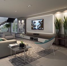 Sala em cinza e branco com tv na parede - Hüseyin Akman - Living Room Tv Unit, Living Room Modern, Home Living Room, Living Room Designs, Small Living, Living Tv, Home Theater Design, Home Interior Design, Design Interiors