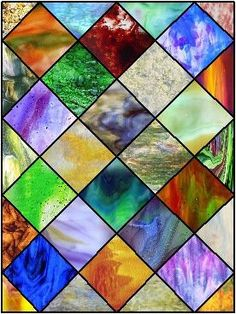 Stained Glass squares of various colored pieces.  Good for mbath windows?