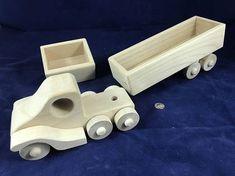 Wood Toy Truck & Wood 2 Trucks in 1 3 piece Modular Wooden