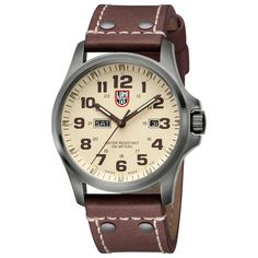 Luminox Atacama Watch with ivory color dial and leather strap.