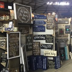 All set up at a show this weekend! It's fun to see all my signs together in one place. Plus some sneak peeks at new designs coming to the shop next week. Vendor Displays, Craft Booth Displays, Vendor Booth, Farmers Market Display, Sign Display, Display Ideas, Diy Wood Signs, Craft Show Ideas, Craft Sale