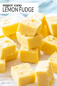 This creamy, Easy Lemon Fudge Recipe is bursting with fresh and zesty lemon flavour. With a base of white chocolate and sweetened condensed milk, this fudge recipe is simple and super quick to make. Fudge Recipe Condensed Milk, Condensed Milk Desserts, Recipes With Condensed Milk, Recipes With Milk, Lemon Recipes Easy, Sweet Recipes, Lemon Recipes Baking, Lemon Fudge Recipe, Homemade Chocolate