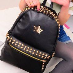 $28.90 (Buy here: https://alitems.com/g/1e8d114494ebda23ff8b16525dc3e8/?i=5&ulp=https%3A%2F%2Fwww.aliexpress.com%2Fitem%2F2016-fashion-designer-crown-zipper-rivet-PU-leather-female-backpacks-waterproof-solid-black-teen-girls-school%2F32691142092.html ) 2016 fashion designer crown zipper rivet PU leather female backpacks waterproof solid black teen girls school bags mochilas for just $28.90