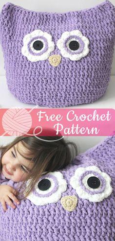 34 Ideas crochet animals pillow owl cushion for 2019 Cute Crochet, Easy Crochet, Irish Crochet, Crochet Gifts, Crochet Owl Pillows, Blanket Crochet, Diy Pillows, Owl Pillow Pattern, Crochet Baby Jacket