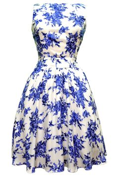 Oriental Blue Floral Tea Dress