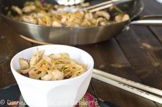 Spicy chicken with noodles and veggies. A quick and easy weeknight meal filled with lots of flavor, and is actually good for you