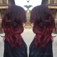 Burgundy Balayage for Dark Brown Hair 2016 - Hair Color & Highlight Ideas Hair Color And Cut, Ombre Hair Color, Hair Colour, Burgundy Balayage, Red Burgundy, Red Bayalage, Red Balayage Hair Burgundy, Burgendy Hair, Burgundy Outfit