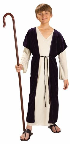 Shepherd Child Costume Includes robe, under robe, and belt. Does not include cane or shoes. Weight (lbs) 0.78 Length (inches) 15 Width (inches) 11 Height(inches) 2