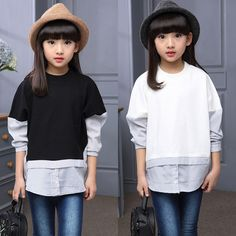 Cheap fashion band, Buy Quality t-shirt simple directly from China t-shirt painter Suppliers: Kids Fashion T-Shirts For Girls Bottoming Shirts Spring Autumn Full Sleeve Cotton Girl Tees Children Clothing 3 4 6 8 10 11 Year