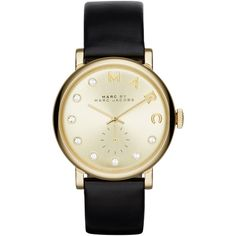 Marc Jacobs Women's Stainless Steel Baker Dexter Leather Strap Watch ,... ($310) ❤ liked on Polyvore featuring jewelry, watches, marc jacobs, gold strap watches, gold jewellery, leather-strap watches and gold stainless steel jewelry