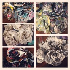 I LOVE the idea of these and they'd be SO fun to make. I'd probably use comic book pages and some of mine and Casey's favorite books. But I definitely would only use them as decor rather than a bouquet or boutonniere.