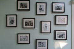 pics of family members at the beach as children, printed in b & w in matching ikea frames for vacation home...