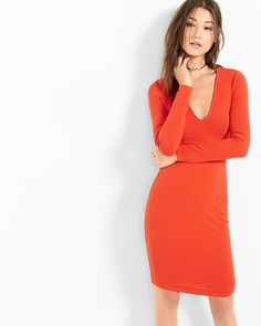 deep v-neck sheath dress