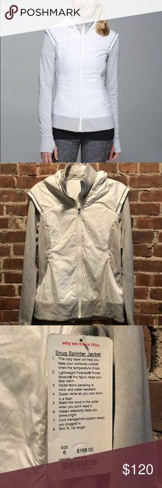 Lululemon Snug Sprinter Jacket Lululemon Snug Sprinter jacket. NWT, never been worn, size 6. Color code: HSIS/WHT. Perfect layer for running outside! lululemon athletica Jackets & Coats