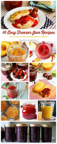 10 Easy Freezer Jam Recipes { a farmgirls dabbles Easy Freezer Jam Recipe, Freezer Cooking, Freezer Meals, Freezer Recipes, Do It Yourself Food, Sauces, Salsa, Jam And Jelly, Canning Recipes