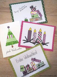 Weihnachtskarten mit Washitape und Motivkarton http://wp.me/pGCcY-ry