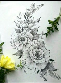 40 Easy Flower Pencil Drawings For Inspiration - Tattoos - Tatuajes Beautiful Flower Drawings, Pencil Drawings Of Flowers, Flower Tattoo Drawings, Flower Tattoo Designs, Tattoo Sketches, Beautiful Tattoos, Tattoo Flowers, Drawing Flowers, Rose Drawing Tattoo