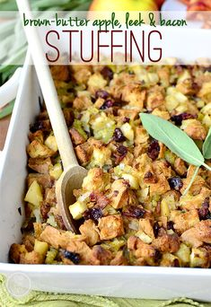 Brown Butter Apple, Leek and Jones Bacon Stuffing is a flavor-packed, gluten-free friendly stuffing recipe highlighting brown butter sauteed apples, leeks, and bacon. | iowagirleats.com