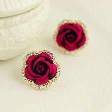Women Accessories and Jewelry - Vintage Style Women Big Crystal Rose Earrings Rhinestone Red Flower Earring Stud - Trend Women Fashion Piercings, Flower Earrings, Women's Earrings, Flower Jewelry, Butterfly Jewelry, Diamond Earrings, Cute Jewelry, Jewelry Necklaces, Red Jewelry