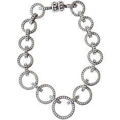 Preowned Valentino Rhinestone Link Necklace, 1980s (5.850 BRL) ❤ liked on Polyvore featuring jewelry, necklaces, grey, graduation necklace, 80s jewelry, rhinestone jewelry, graduation gift jewelry and preowned jewelry