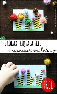 Super fun Lorax truffala tree number match up! Great for number recognition, counting and fine motor skills. from Playdough to Playto Counting Activities, Preschool Activities, Time Activities, Dr Seuss Week, Dr Suess, Preschool Crafts, Crafts For Kids, Playdough To Plato, Classroom Crafts
