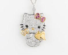 Hello Kitty wings 18K gemstone and diamond pendant - $7,000 #HelloKitty #Jewelry