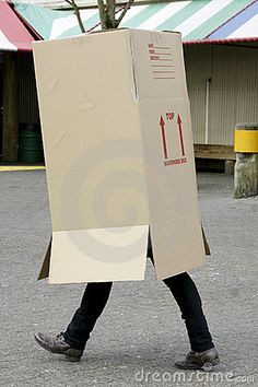 A cardboard box: Zombies can't identify me as human and if they did, they couldn't do a damn thing about it. Plus, it looks quite smashing. Zombies, Paper Shopping Bag, Cloths, The Outsiders, Stock Photos, Box, Image, Drop Cloths, Snare Drum